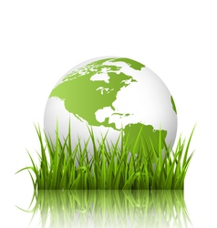 Green planet icon with globe and grass on white vector