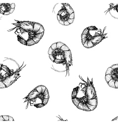 Hand drawn shrimp pattern vector image