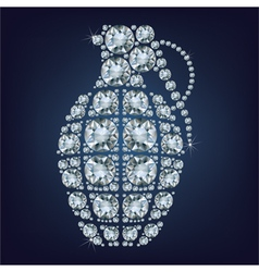 Hand grenade made up a lot of diamonds vector