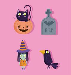 happy halloween pumpkin witch tombstone raven vector image