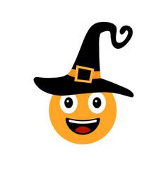 Happy halloween smiley in witch hat vector