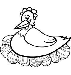 hen hatching easter eggs cartoon for coloring vector image