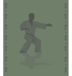 Hieroglyph of karate and man demonstrating karate vector