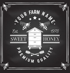 honey farm badge on chalkboard vector image