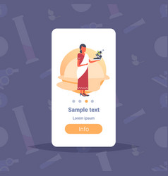 indian woman scientist holding microscope vector image