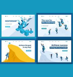 isometric leadership motivation goal movement vector image