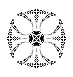 Laurel wreath tattoo Black ornament Cross vector