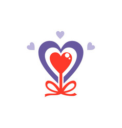 Love heart valentine abstract ribbon logo vector