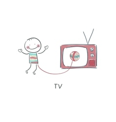 Man and TV vector