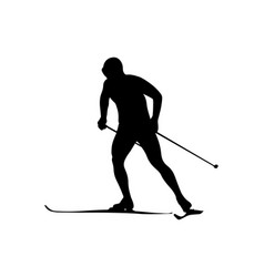 Man athlete skier ski racing vector