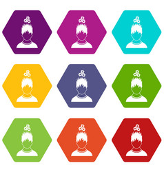 Man with metal gears over head icon set color vector
