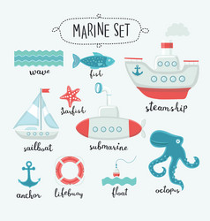 marine cute elements and lettering name in english vector image