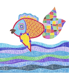 Marker hand drawing of fish and water vector