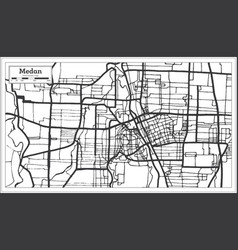 Medan indonesia city map in black and white color vector