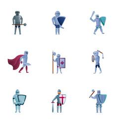 Medieval knights icon set cartoon style vector