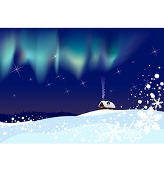 Northern lights at christmas vector