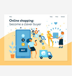 Online shopping concept banner vector