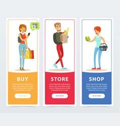 people with shopping bags vertical banners set vector image