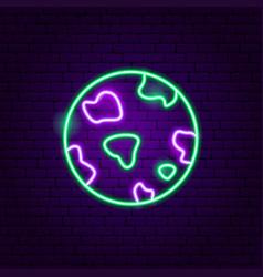 Planet neon label vector