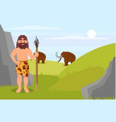 prehistoric caveman character in animal skin vector image