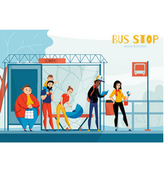 Queue people bus station composition vector