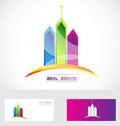 Real estate buildings colors logo vector image vector image