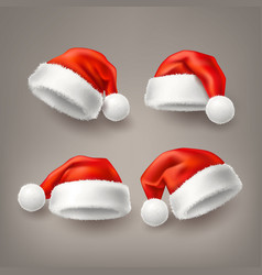 realistic santa christmas holiday hat set vector image