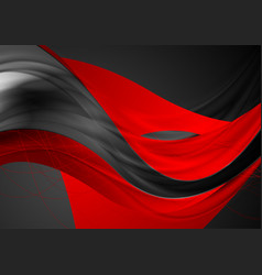 red black shiny glossy waves abstract background vector image