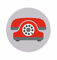 red old phone with a disk icon flat style vector image