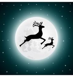 Reindeer and baby deer jumping vector