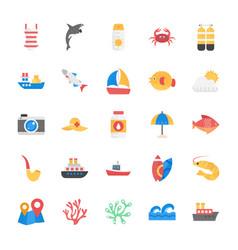 Sea life flat icons set vector