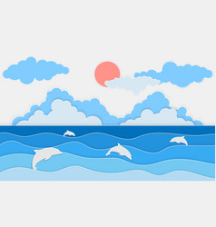 Sea view with dolphin and clouds paper cut vector