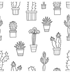seamless pattern of lovely green cacti and vector image