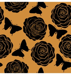 seamless pattern roses and silhouettes butterflie vector image