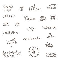 set natural organic vegetarian vegan labels vector image