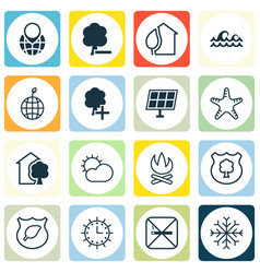 Set of 16 ecology icons includes ocean wave sea vector