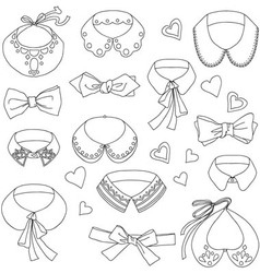 Set of fashion collars and bows bow ties accesso vector