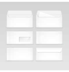 Set of White Blank Envelopes Isolated vector image