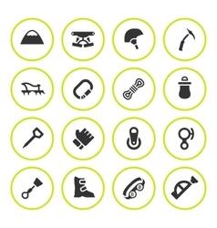 Set round icons mountaineering vector