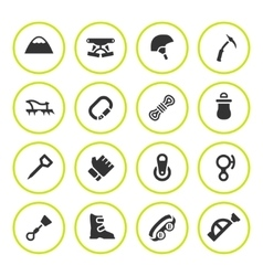 Set round icons of mountaineering vector