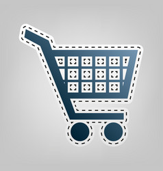 shopping cart sign blue icon with outline vector image