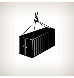 Silhouette container with crane vector