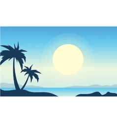 Silhouette of beach with big moon landscape vector image vector image