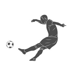 silhouette soccer player quick shooting a ball on vector image