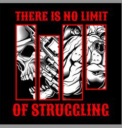 skull struggling hand drawingshirt designs biker vector image