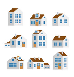 Small and big white houses isolated set vector