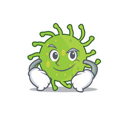 Smirking green bacteria character cartoon vector