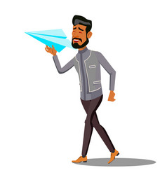 startup manager in a business suit starting up vector image