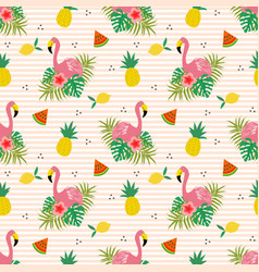 summer flower and flamingo seamless pattern vector image