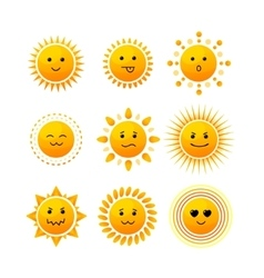 Sun Smile Icon Set vector image
